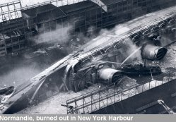 Normandie, burned out in New York Harbour